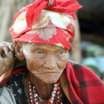 Very old woman of the San Bushman tribe