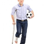 Man on crutch